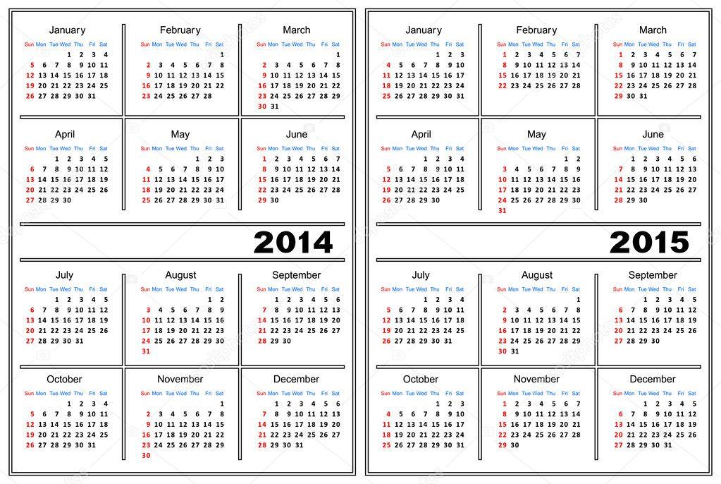2014 and 2015 calendar printable