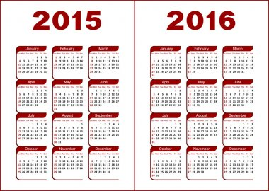 Calendar 2015, 2016