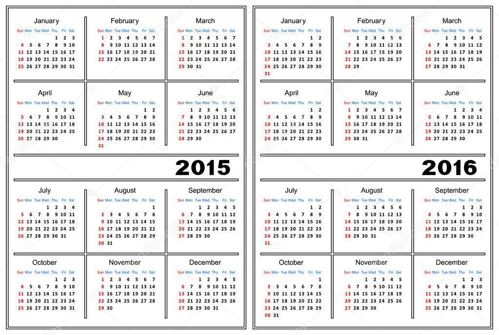 Modello di calendario 2015 2016 vettoriali stock for Calendario 2015 ministerio del interior