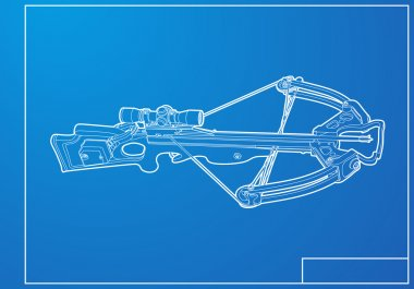 Outline crossbow on blue background stock vector