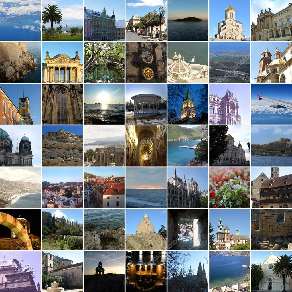 travel places different europe collage tbilisi st depositphotos