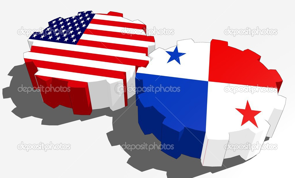 National relationship Panama and usa flags on gears – Stock