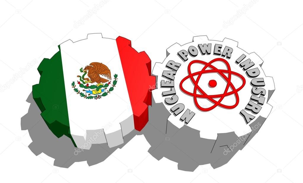 Mexico National Flag And Atom Energy Symbol On Gears Stock Photo