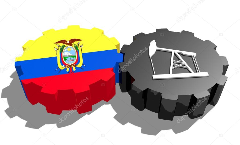 National Flag Of Ecuador And 3d Derrick Model On Gears Stock Photo