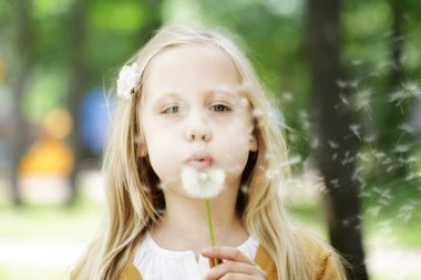 Cute child girl blowing dandelion - wishes
