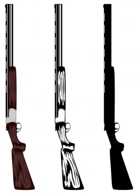 Vector illustration huntings rifle colored, black and whith, silouette stock vector