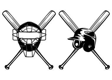 helmet mask and bats