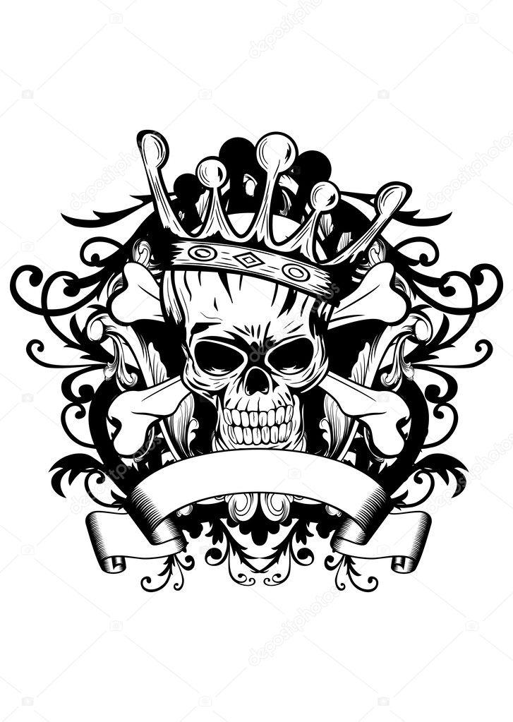 Totenkopf mit Krone Tauchen