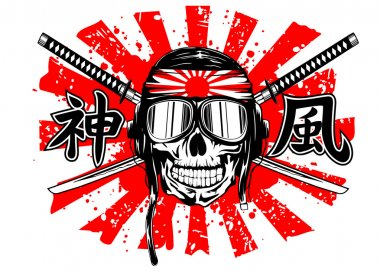 skull in pilots helmet and swords