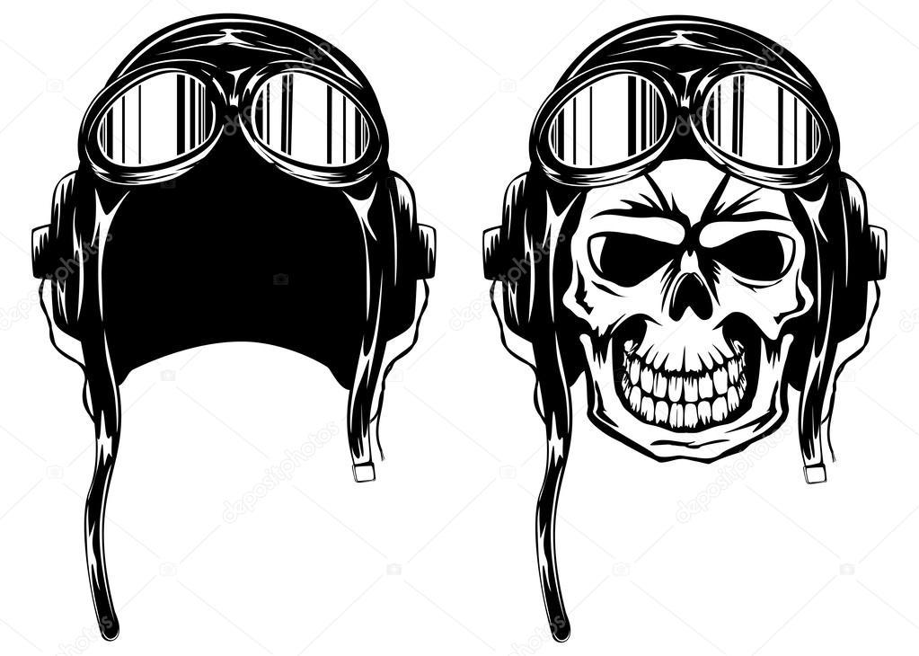 как нарисовать череп в каске
