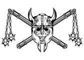 Skull in helmet and crossed maces