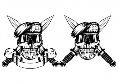 Skull in beret and daggers
