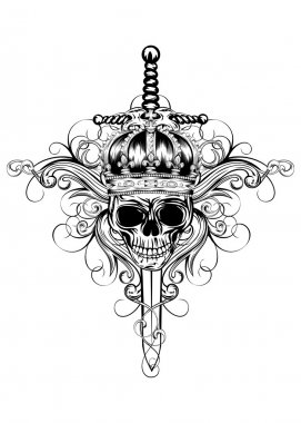 Skull in crown and sword