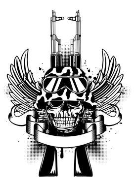 Skull in helmet and two Kalashnikov guns
