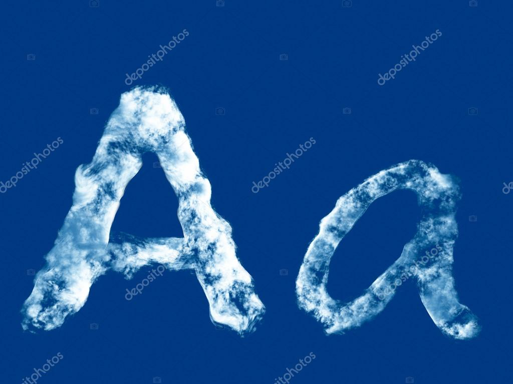 Letter 'A' from clouds alphabet