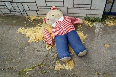 Torn teddy bear