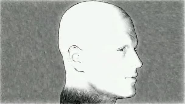 náčrt aktivní muž 3d ilustrace