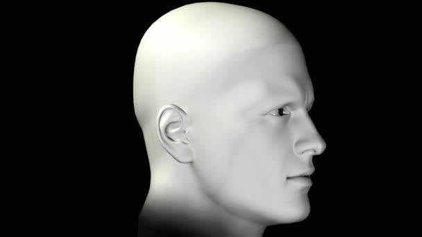 Portrét muže rotující lidská hlava