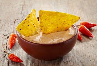 Bowl of dip and nachos