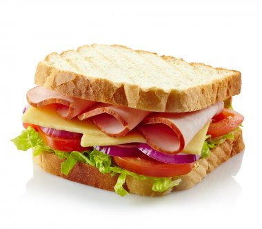 Sandwich with ham, cheese and fresh vegetables isolated on white background stock vector