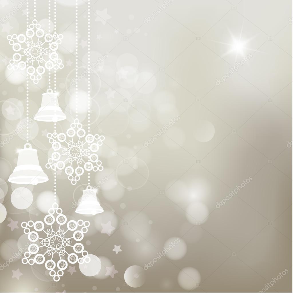 Silber Weihnachten Hintergrund mit Glocken und Schneeflocken ...