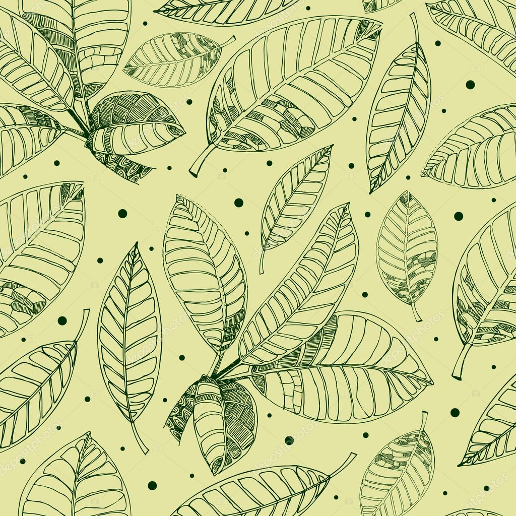 Pattern with freehand coffee leafs