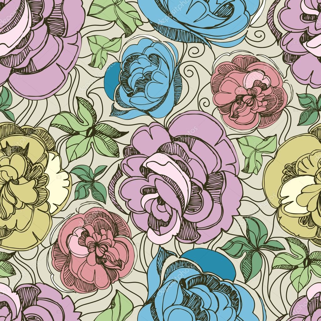 Pattern with freehand sketch of roses