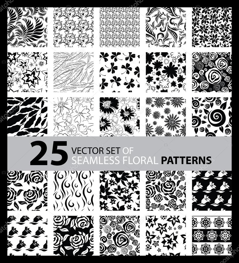 Big vector set of twenty five seamless floral patterns