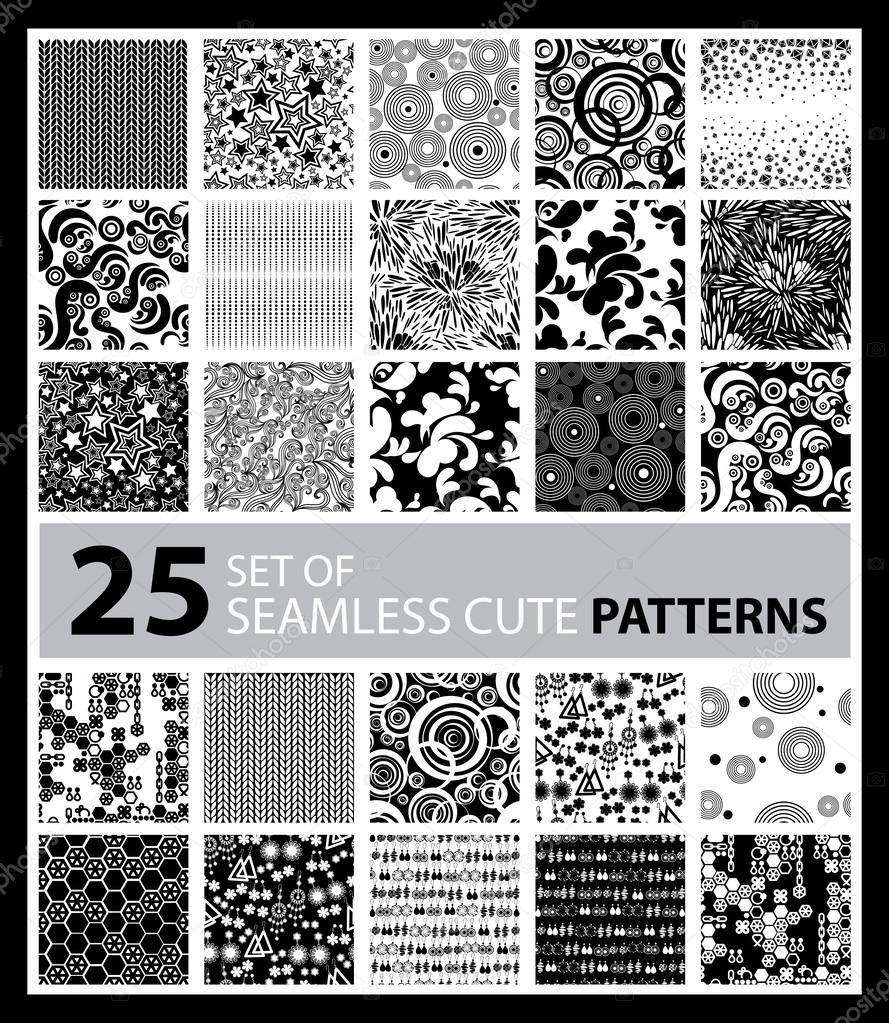 Big vector set of twenty five seamless patterns
