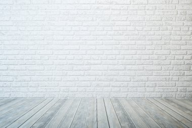 Empty room with white brick wall and wooden floor stock vector