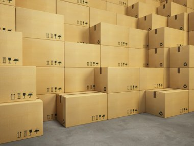 warehouse with stack of cardboard boxes