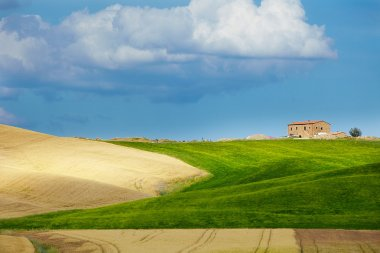 Tuscany landscape with typical farm house on a hill in Val d'Orcia, Italy stock vector