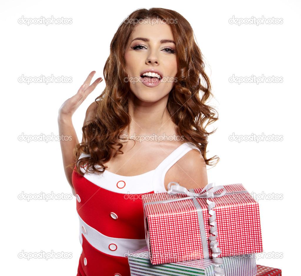 Weihnachts-Geschenk. Frau geben, halten Weihnachtsgeschenk ...