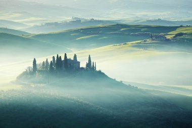 Morning on countryside, San Quirico d'Orcia, Tuscany, Italy stock vector