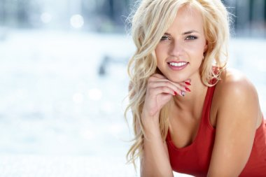 Beautiful blonde woman portrait