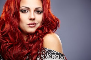 winter redhead woman portrait