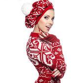 krásné zimní žena ve studiu