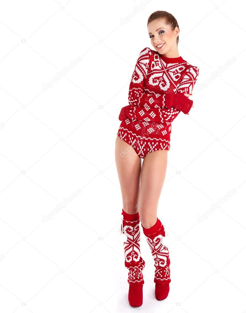 ff92b182e615 Happy woman in sexy winter clothes — Stock Photo © zoomteam  35774151