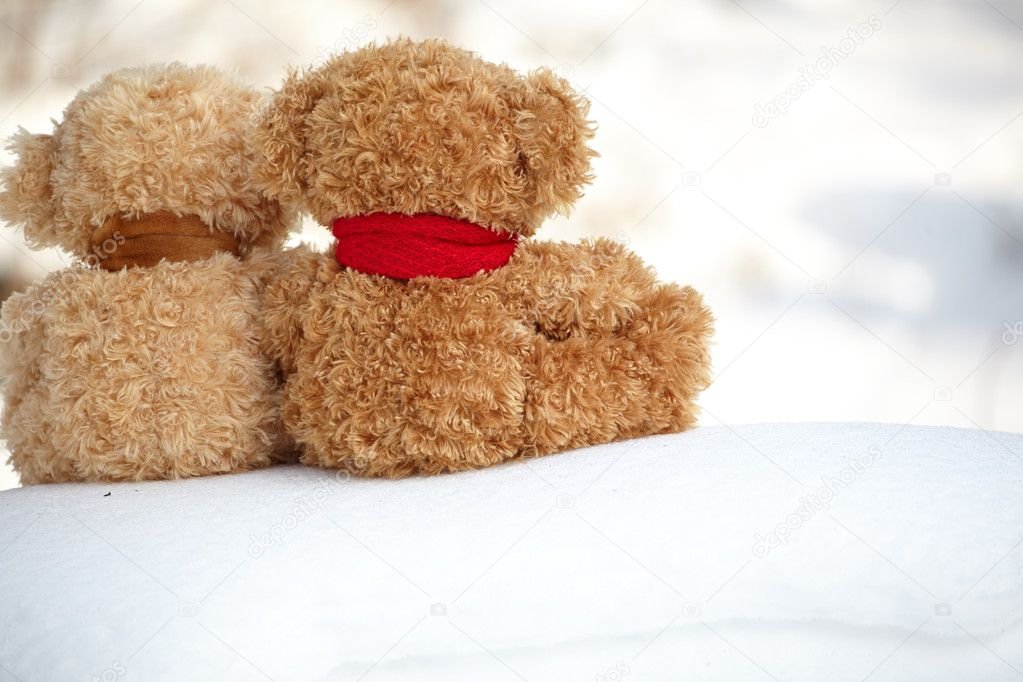 Teddy bears on a snow around each