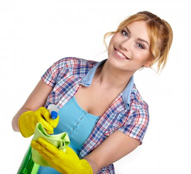 Housewife cleaning
