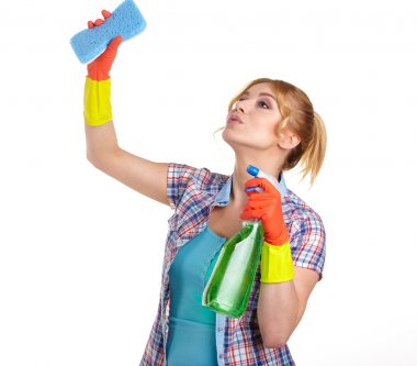 Young woman cleaning
