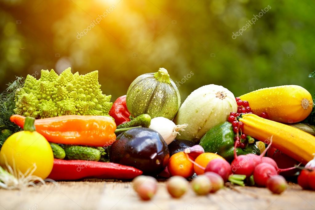 Fresh organic vegetables and fruits