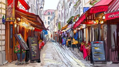"Картина, постер, плакат, фотообои ""улица в париже - иллюстрация "", артикул 50283209"