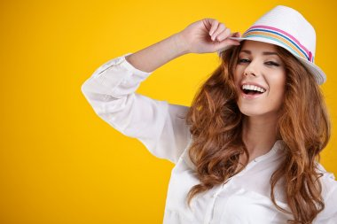 Sexy spring girl with hat