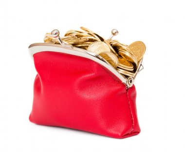 Red purse full of gold coins on a white