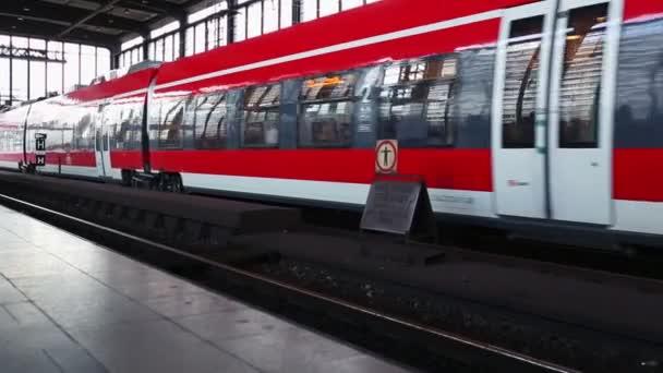 Modern train leaving the station