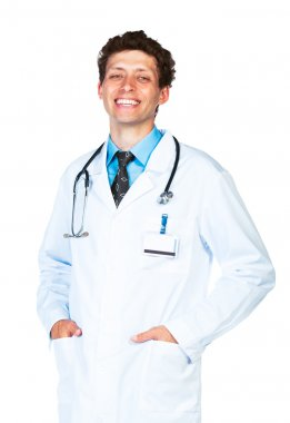 Portrait of the smiling doctor on a white
