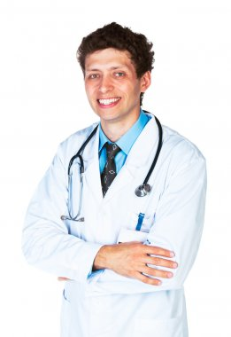 Portrait of a smiling male doctor on white