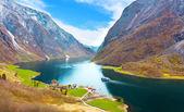 Photo Naeroyfjord - fjord landscape in Sogn og Fjordane region.