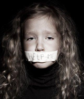 Little girl begging for help